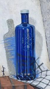 Serge Krewiss Botella de plastico azul